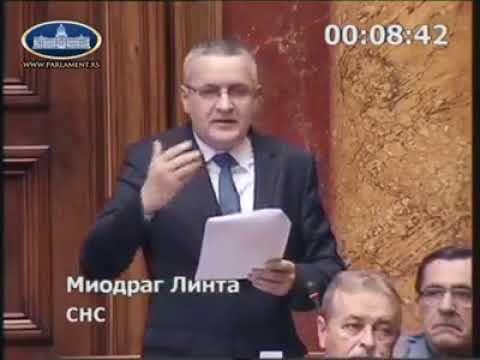 Миодраг Линтa у Скупштини Србије поводом избора новог Тужиоца за ратне злочине