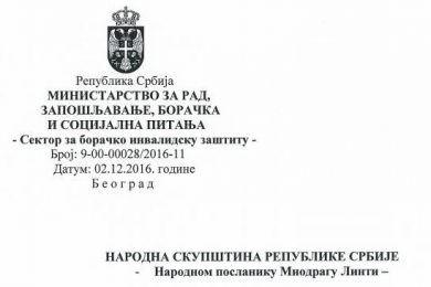 Одговор државног секретара Драгана Поповића на посланичка питања Миодрага Линте у вези ратног стажа за Крајишнике