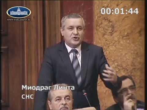 Миодраг Линтa у Скупштини Србије истиче да протјерани Срби у Федерацији БиХ не могу …