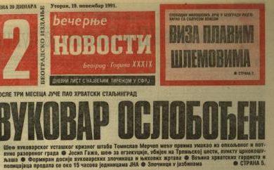 Линта: Прије 27 година, тј. 18. новембра 1991. Југославенска народна армија ослободила Вуковар